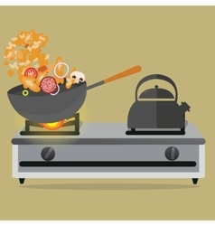 frying pan cooking stirred vegetable and meat on vector image vector image