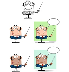 Manager Gesturing With A Pointer Stick Collection vector image vector image