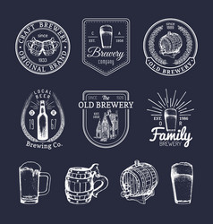 Old brewery logos set kraft beer retro signs with vector