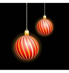 Two Christmas red spheres vector image