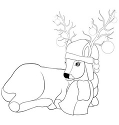 a coloring bookpage a deer wearing a christmas vector image