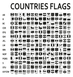 alphabetically sorted monochrome or black flags of vector image