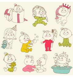 Baby Girl Cute Doodles vector