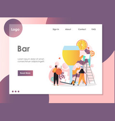 Bar website landing page design template vector