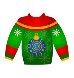 beautiful cute christmas sweater with festive vector image