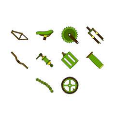 bicycle parts icon set vector image