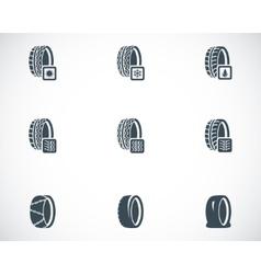 black tire icon set vector image