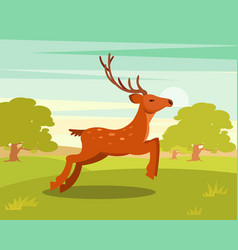 Brown graceful deer with antlers wild animal vector