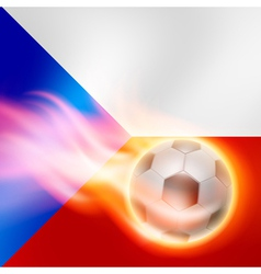 Burning football on Czech Republic flag background vector image