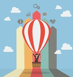 Business woman on hot air balloon with arrow bar vector image