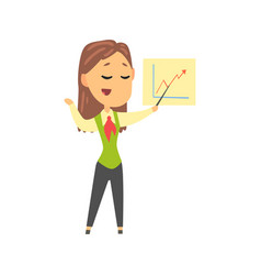 Businesswoman character in formal wear giving vector