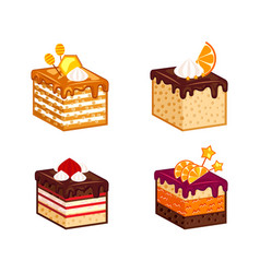 Cakes pieces collection vector