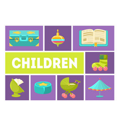 children banner template kids toys and vector image
