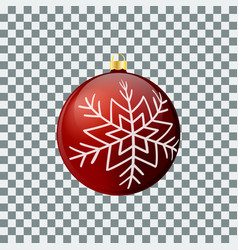 christmas ball - red - decorated design vector image
