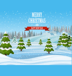 christmas landscape background with snow and tree vector image