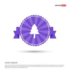 christmas tree icon - purple ribbon banner vector image