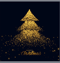 christmas tree made with golden sparkles vector image