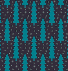 Christmas trees and snowflake seamless pattern vector image