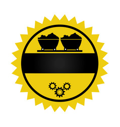 Circular emblem with wagon of mining over rail and vector