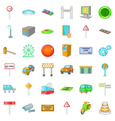 City location icons set cartoon style vector