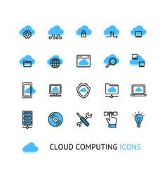 cloud computing sign thin line icon set vector image