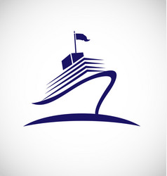 Cruise ship swoosh lines icon vector