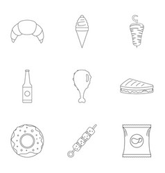 Crumbly icons set outline style vector