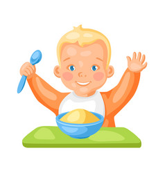 Cute little baby with plate vector