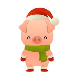 cute pig cartoon character in santa hat happy vector image