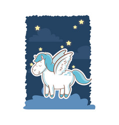 cute unicorn wings over cloud night star poster vector image
