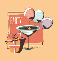 Decorative gift box with cocktail balloons retro vector