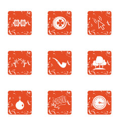 Departure to park icons set grunge style vector