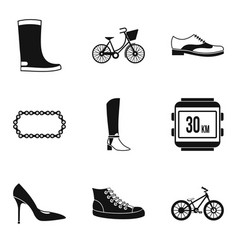 Designer footgear icons set simple style vector