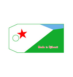 Djibouti flag on price tag with word made in vector