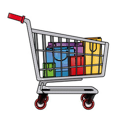 Drawing cart shopping paper bag gift commerce vector