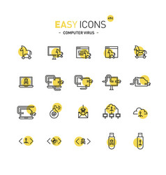 easy icons 49d computer virus vector image