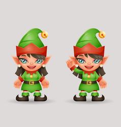 elf girls santa claus female helper vector image