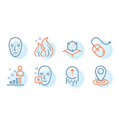 Face biometrics face declined and swipe up icons vector