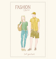 fashion collection of clothes set of male and vector image