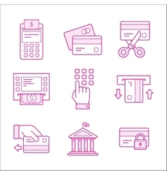 Financial security icons Linear style vector