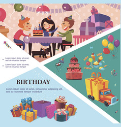 flat birthday party template vector image