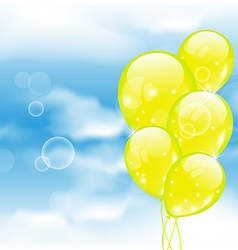 Flying yellow balloons in blue sky vector
