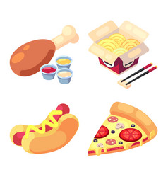 Game icons set food for higher health level vector