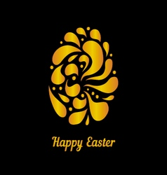 Greeting card with golden easter egg-4 vector image vector image