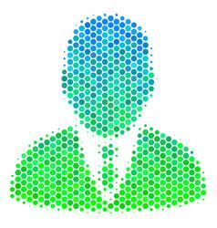 halftone blue-green boss icon vector image