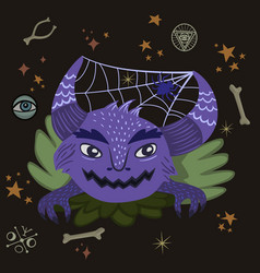 halloween monster with spiderweb in horns vector image