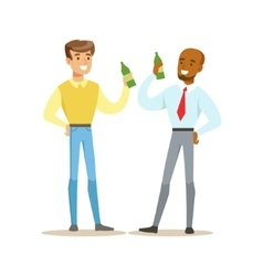 Happy Best Friends Having A Beer After Work Part vector