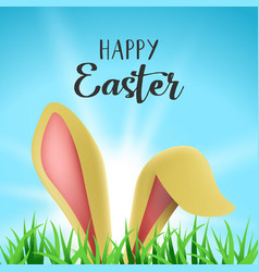 Happy easter card with cute bunny ears and text vector
