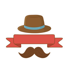 hat with ribbon and moustache vector image