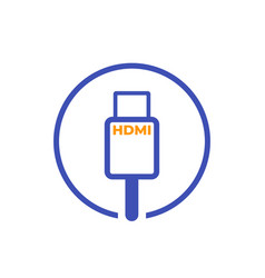 hdmi cable icon on white vector image